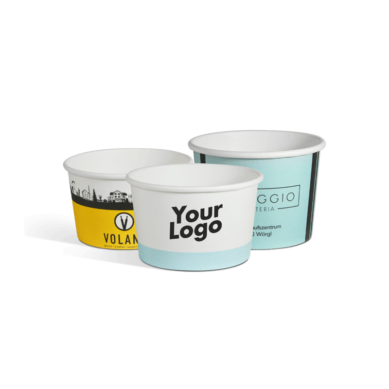 Large selection of ice cream cups with logo